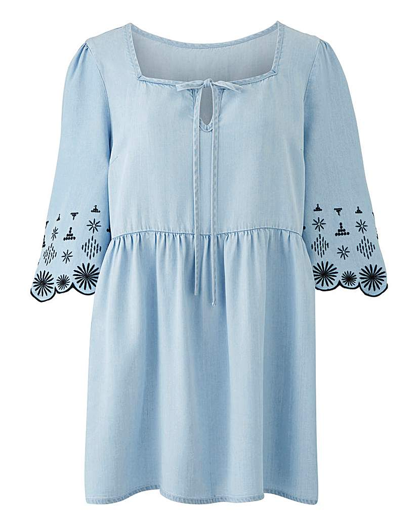 Simply Be Tencel Embroidered Floaty Smock Tunic