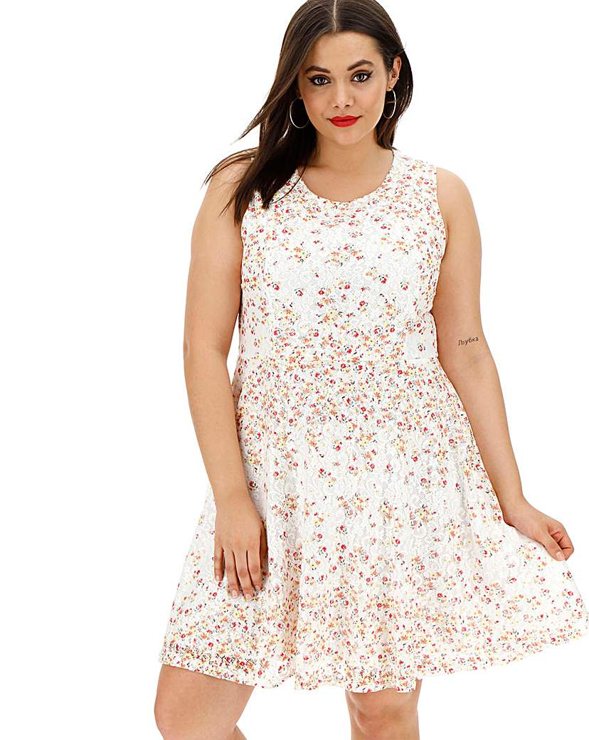Apricot Apricot Floral Overlay Skater Dress