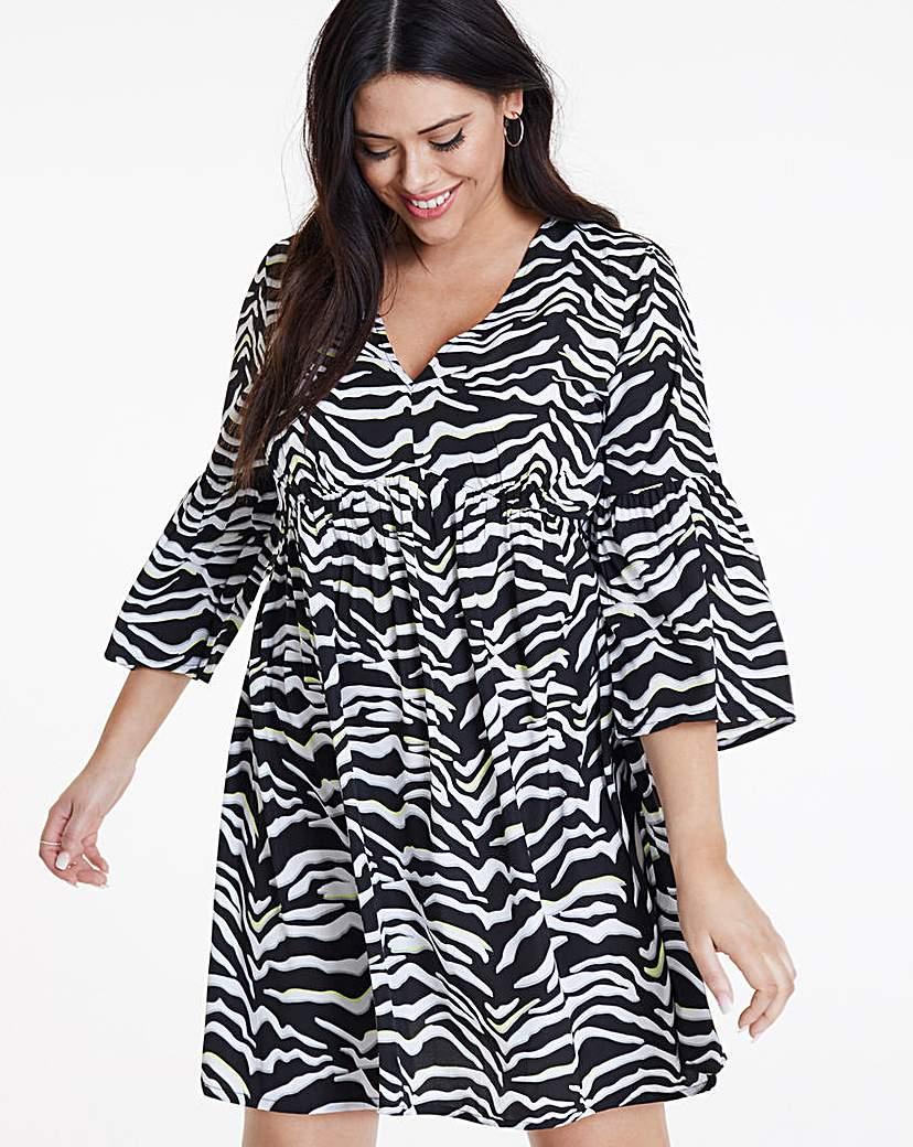 Simply Be Neon Zebra Print Smock Dress