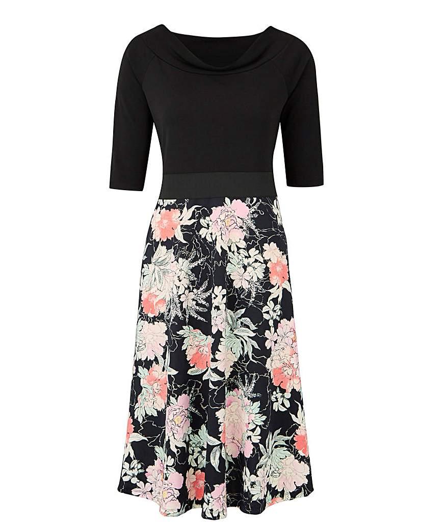 Black/Mint Printed Prom Dress