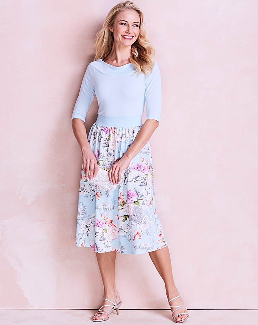 Blue Floral Printed Prom Dress