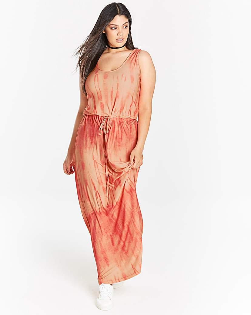 Capsule Coral/ White Tie Dye Maxi Dress