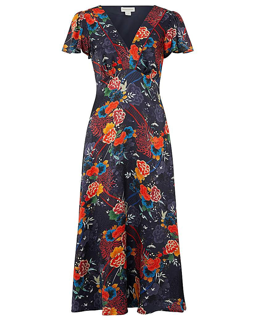 Monsoon Olive Oriental Print Tea Dress