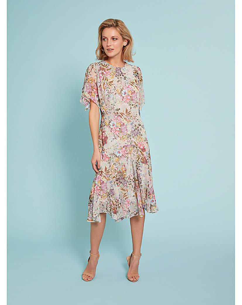 Vintage Inspired Dresses & Clothing UK Gina Bacconi Estera Floral Chiffon Dress £200.00 AT vintagedancer.com