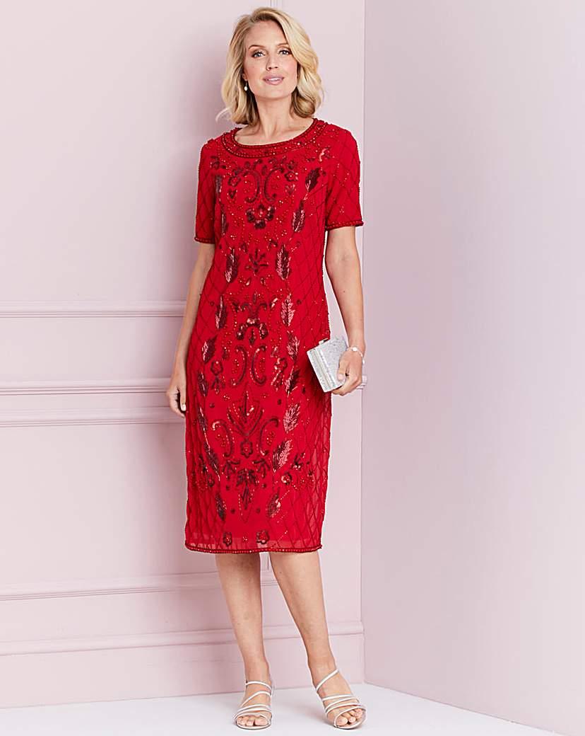 Red Flapper Dresses, Red 1920s Dresses Nightingales Red Sequin Shift Dress £55.10 AT vintagedancer.com