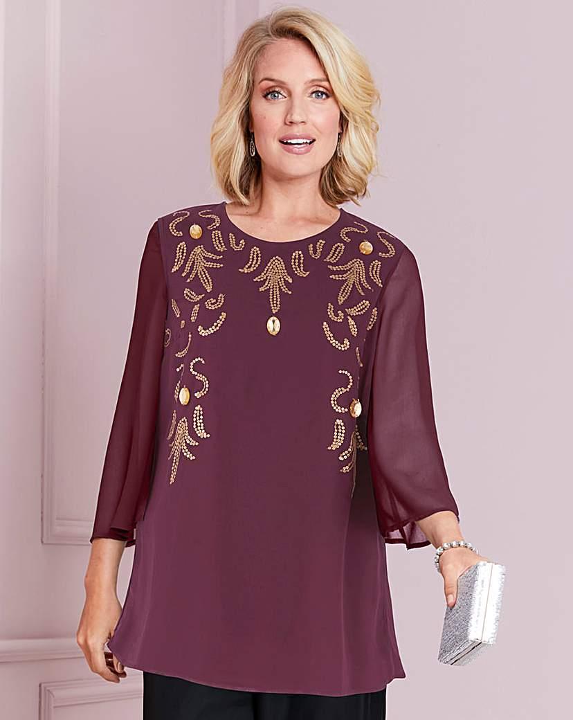 1920s Style Blouses, Shirts, Sweaters, Cardigans Nightingales Embellished Tunic £39.00 AT vintagedancer.com