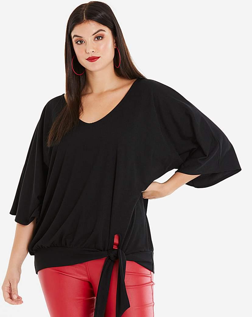 Capsule Black Kimono Sleeve Tie Side Top