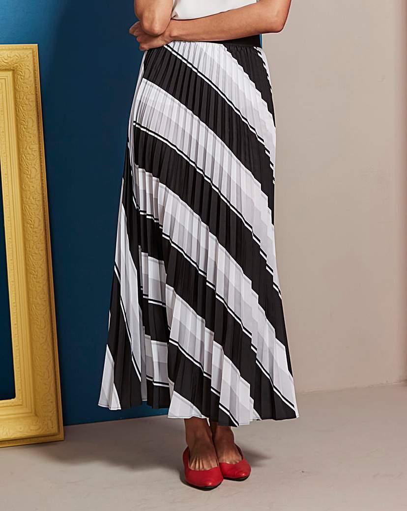 Simply Be Stripe Sunray Pleat Maxi Skirt