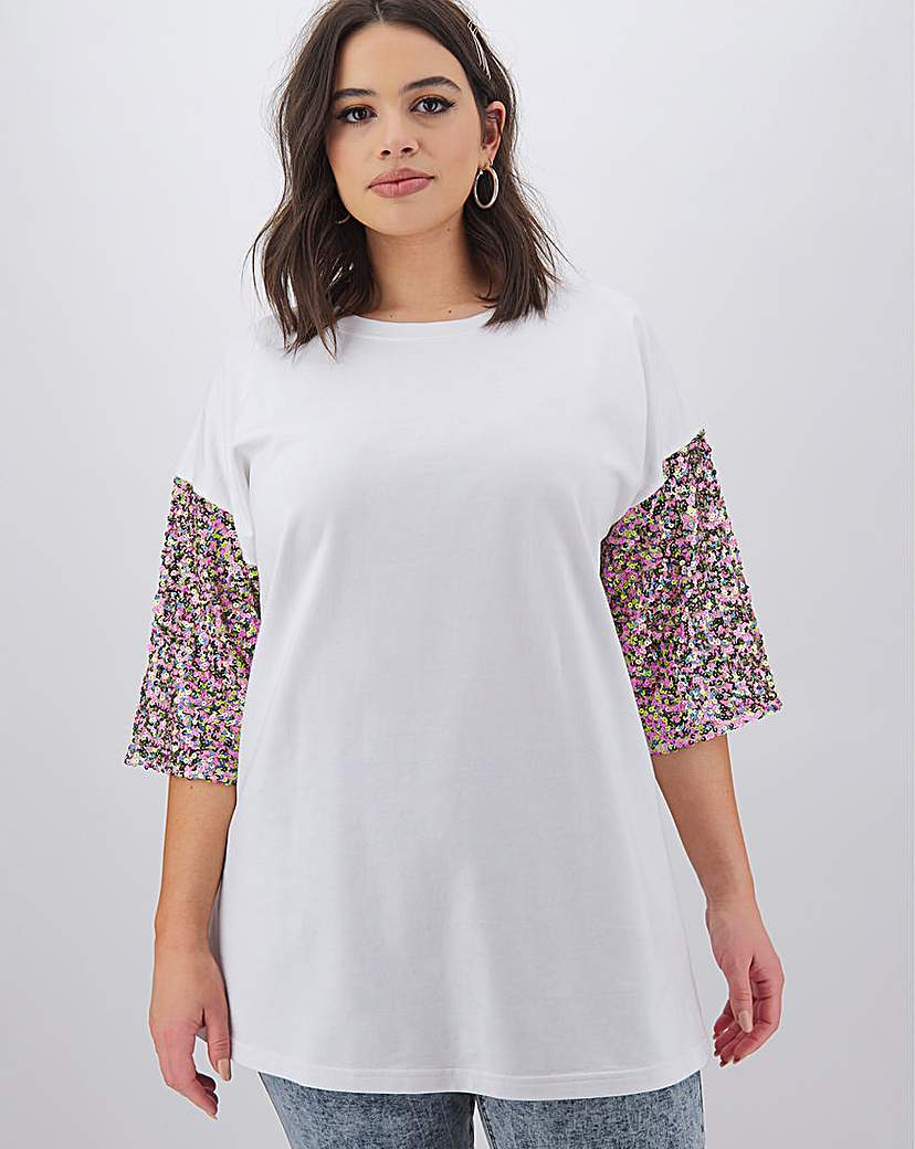 Simply Be Confetti Sequin Sleeve Sweat Tunic