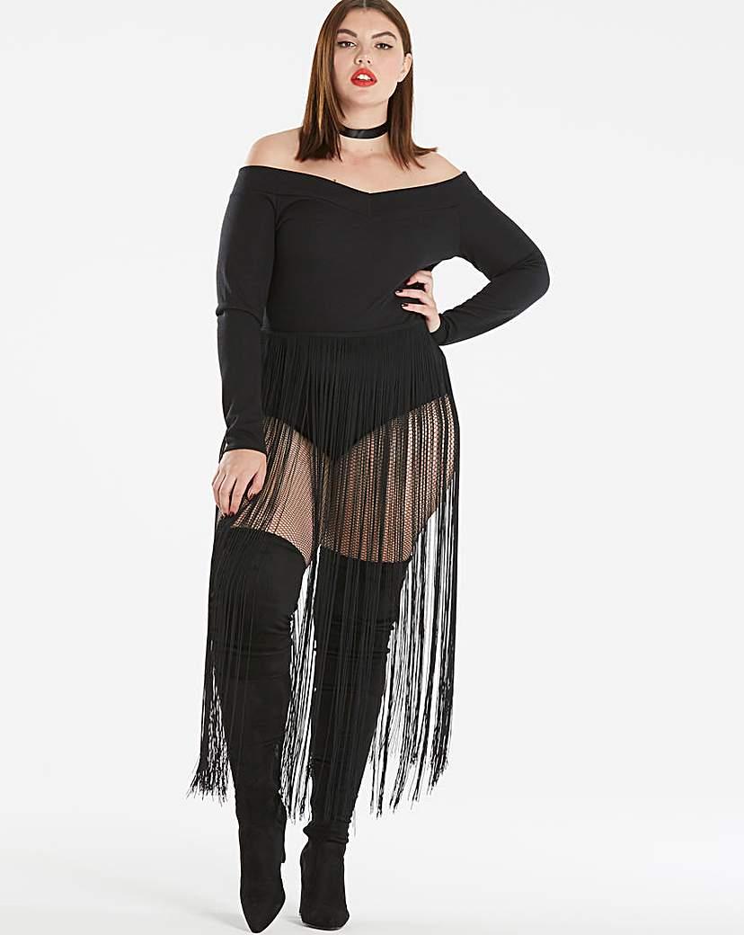 Simply Be Fringe Bardot Bodysuit