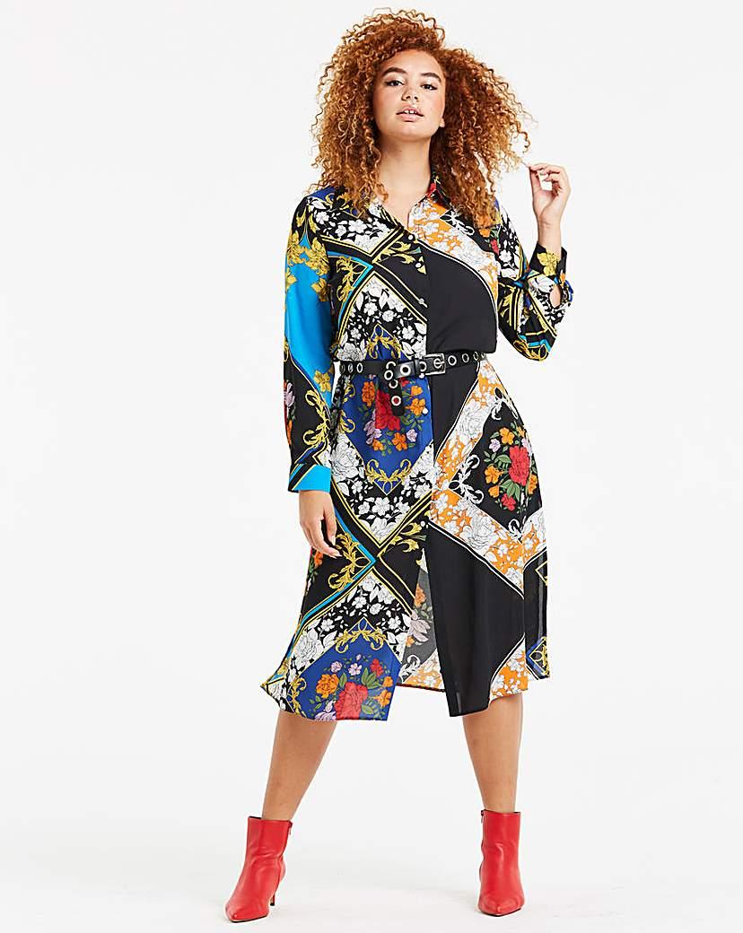 Simply Be Scarf Print Shirt Dress