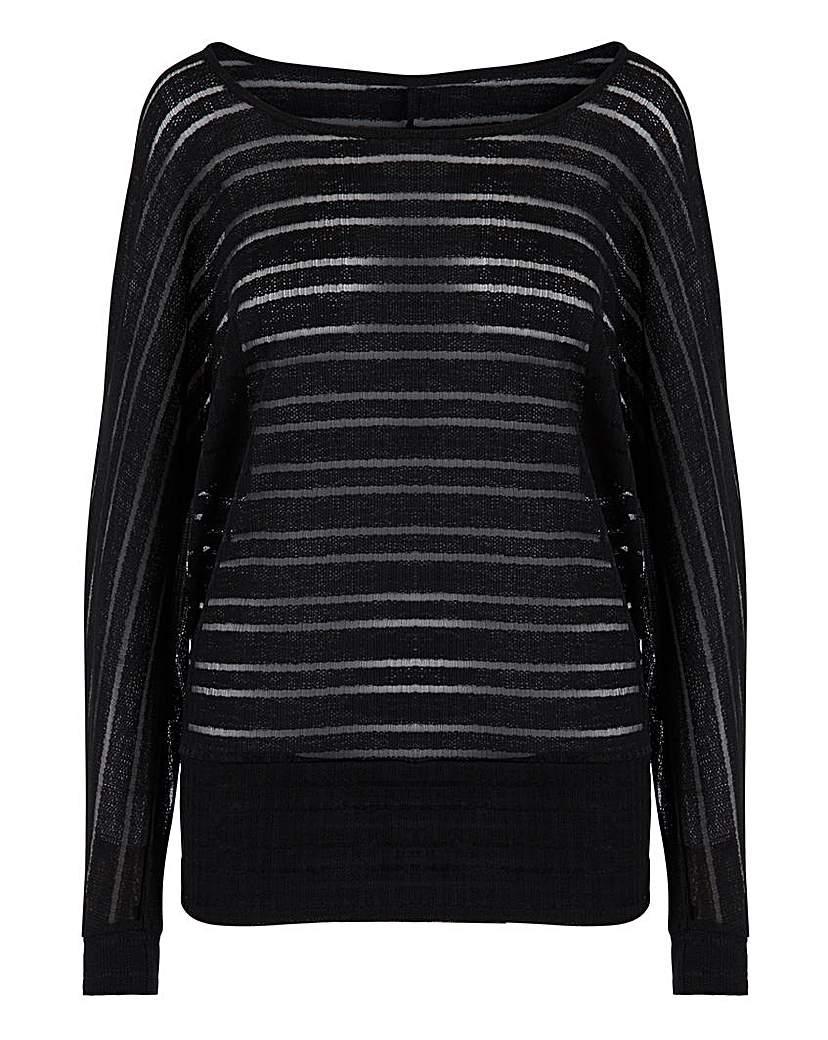 Capsule Black Cut & Sew Sheer Stripe Top