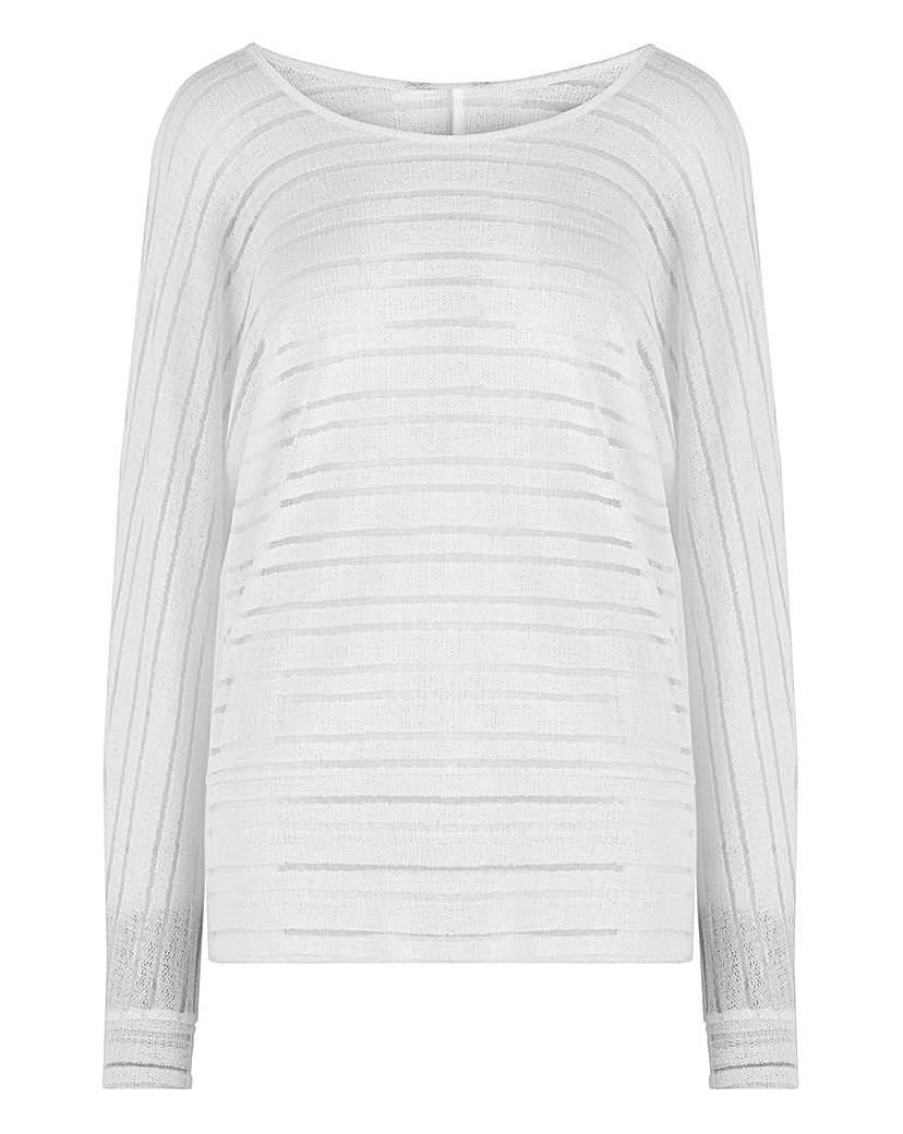 Capsule White Cut & Sew Sheer Stripe Top