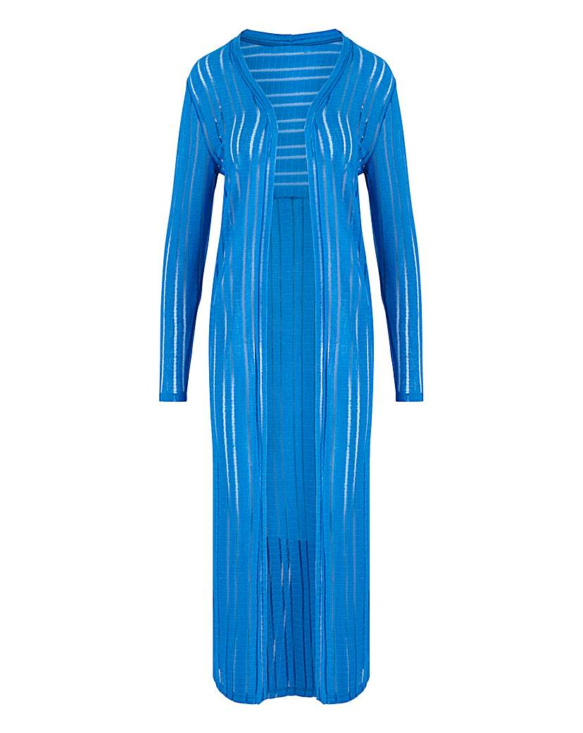 Capsule Blue Cut & Sew Sheer Longline Cardigan