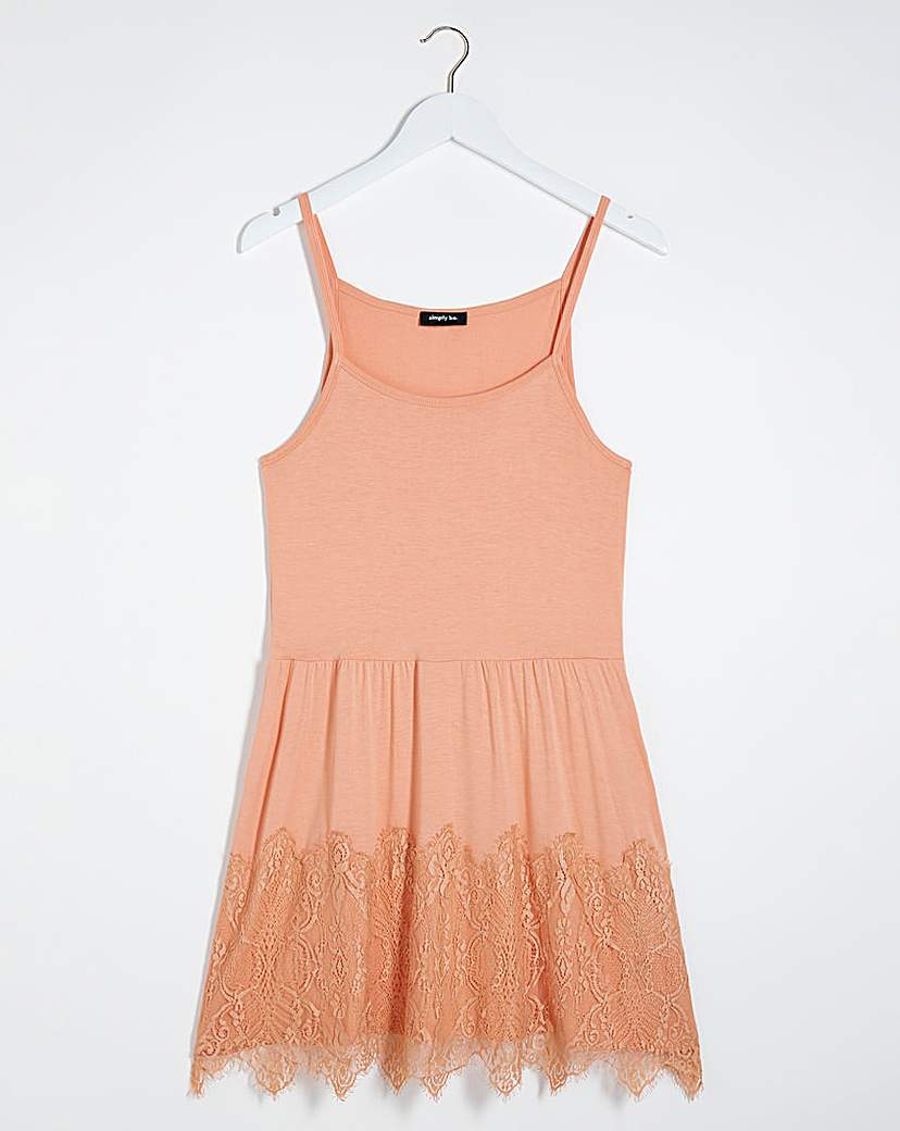 Simply Be Peach Lace Hem Strappy Tunic