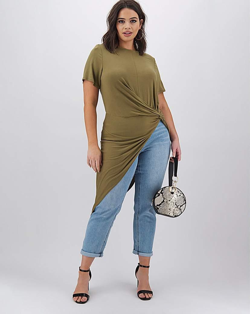 Simply Be Khaki Asymmetric Twist Front Tunic