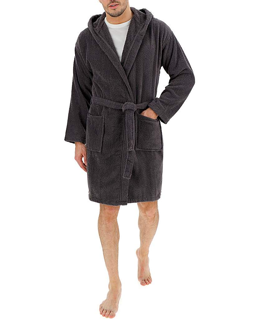 Charcoal Hooded Towel Dressing Gown