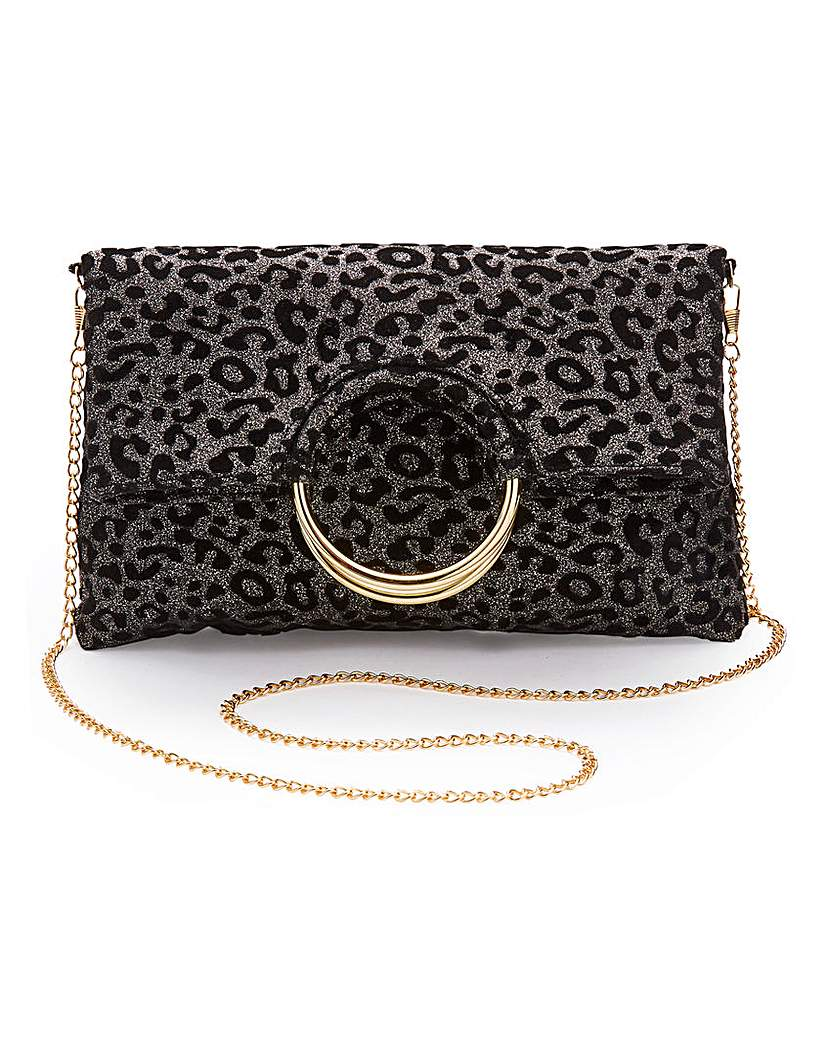Simply Be Ring Detail Foldover Leopard Clutch