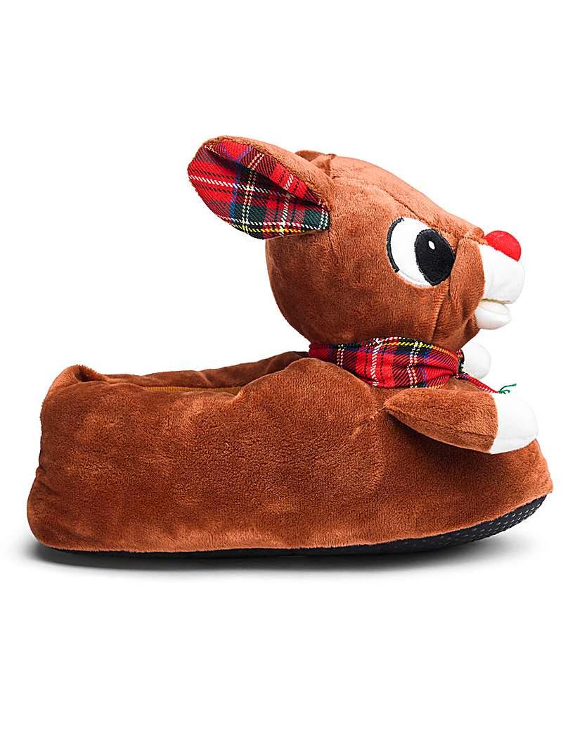 3D Novelty Reindeer Slipper Wide Fit