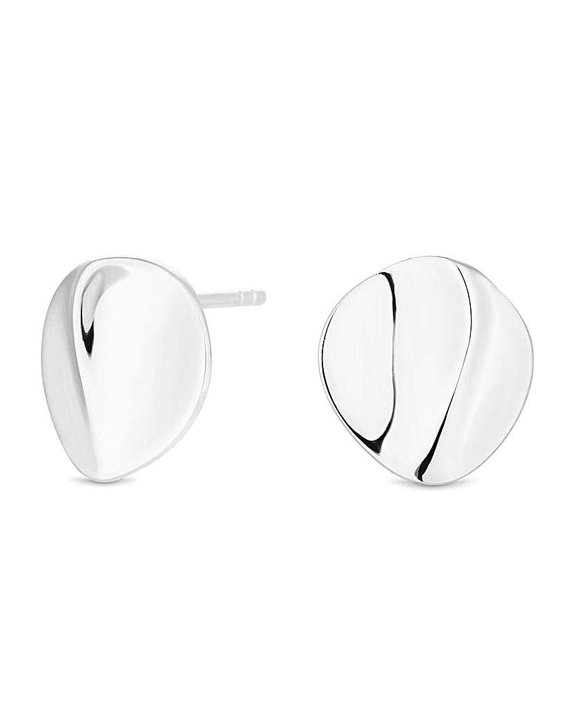Simply Silver by Jon Richard Simply Silver Warped Stud Earrings