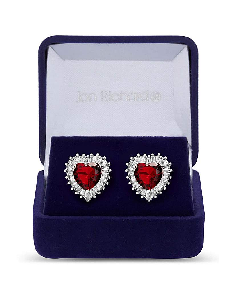 Jon Richard Jon Richard Silver Red Heart Studs