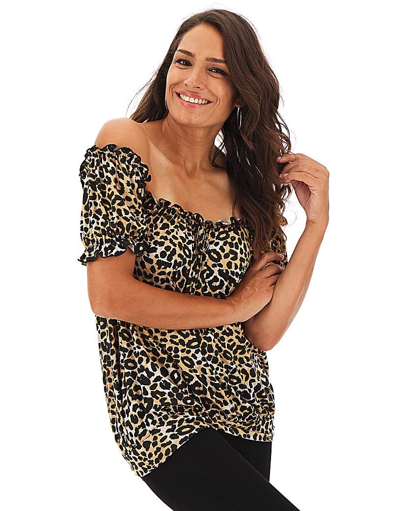 Animal Print Printed Bardot Top