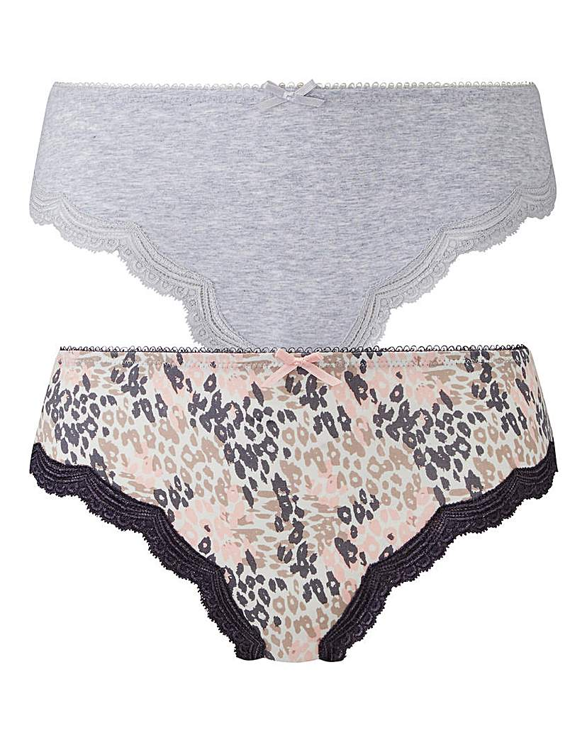 Pretty Secrets 2 Pack Sophie Grey/Print Midi Briefs