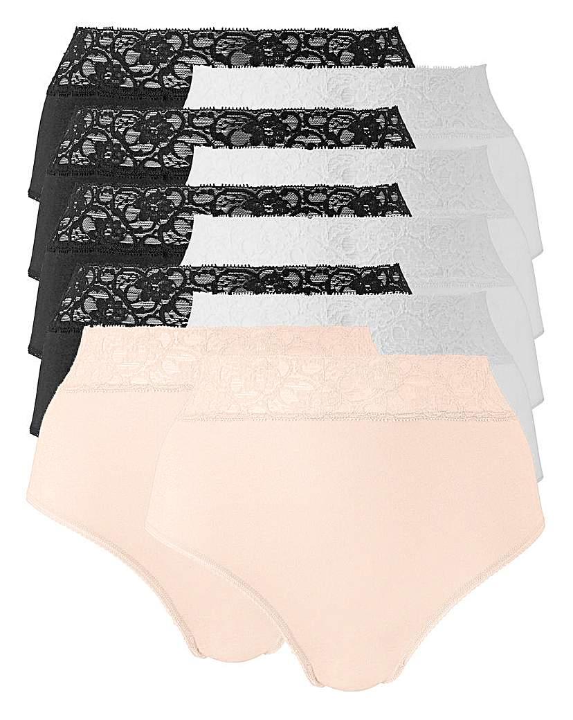 10 Pack Blk/Wht/Blush Lace Top Briefs