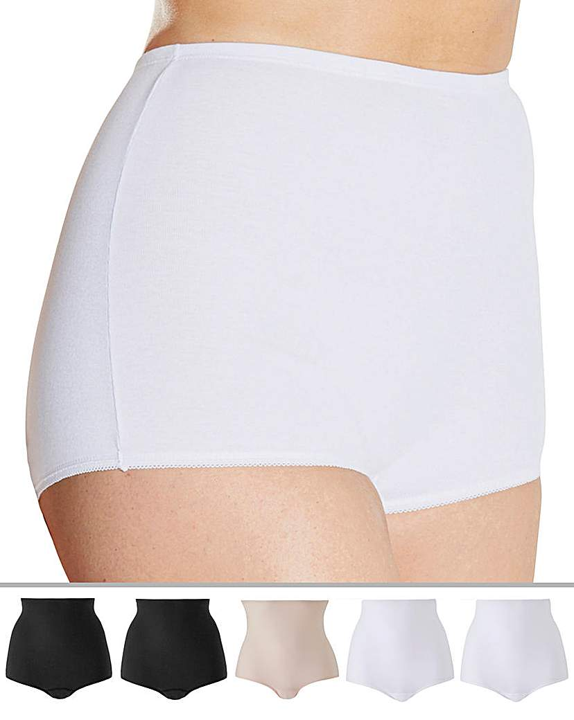 Naturally Close 5 Pack Black/White/Blush Comfort Shorts