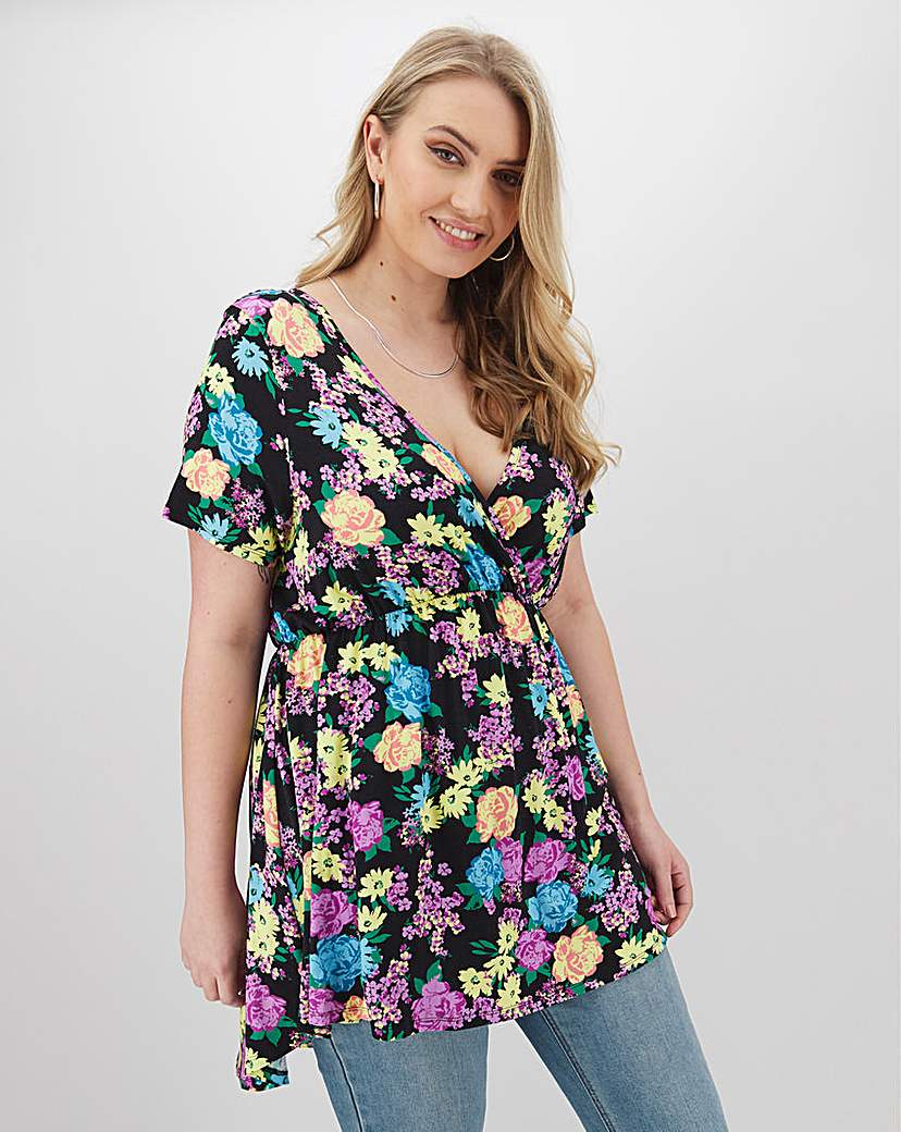 Simply Be Black Floral Swing Tunic