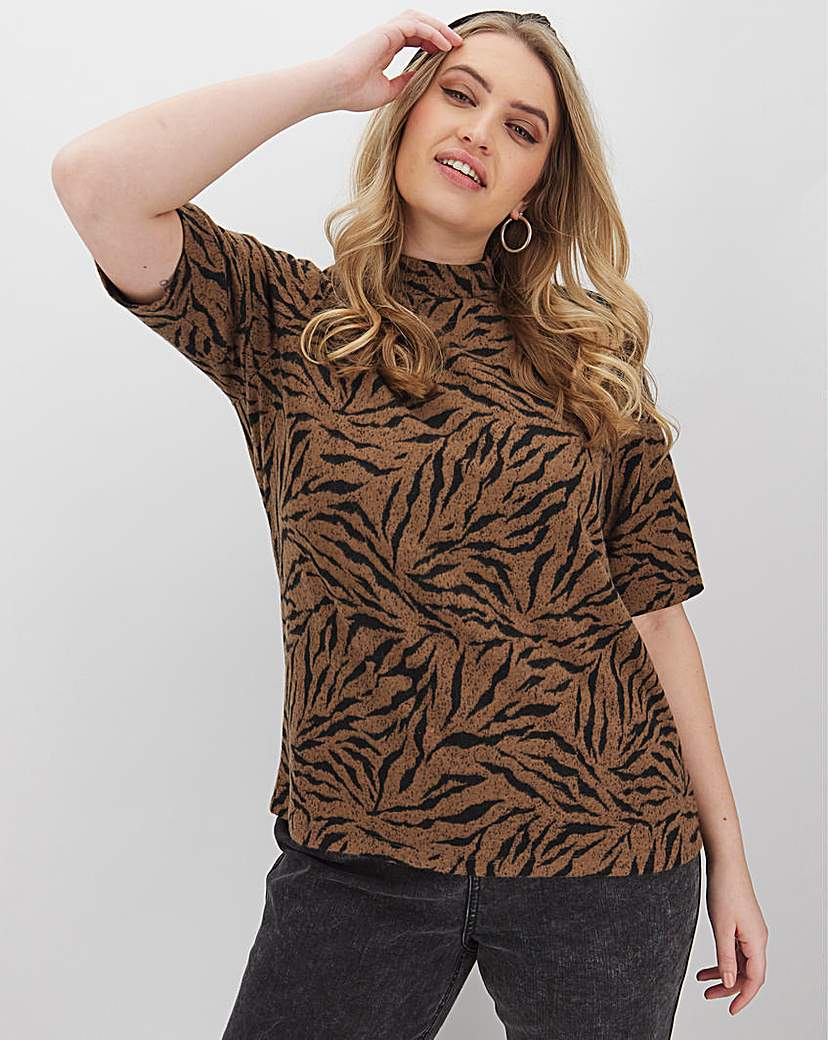 Simply Be Tiger Super Soft High Neck Top