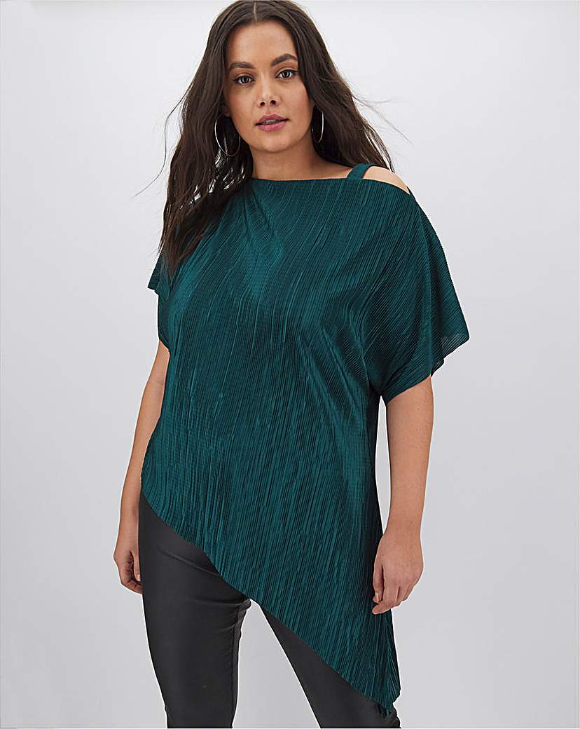 Simply Be Teal Plisse Off The Shoulder Tunic