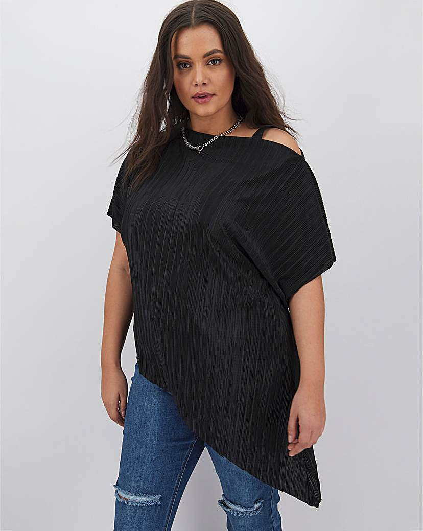 Simply Be Black Plisse Off The Shoulder Tunic