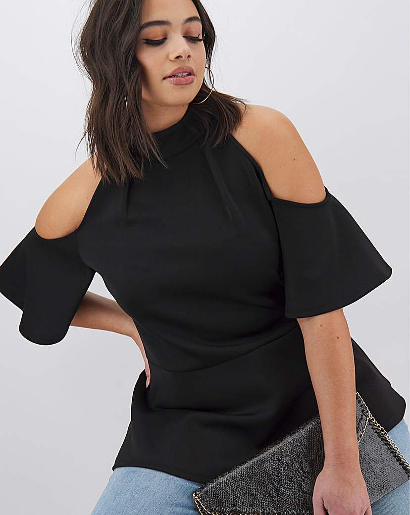 Simply Be Black Cold Shoulder Scuba Top