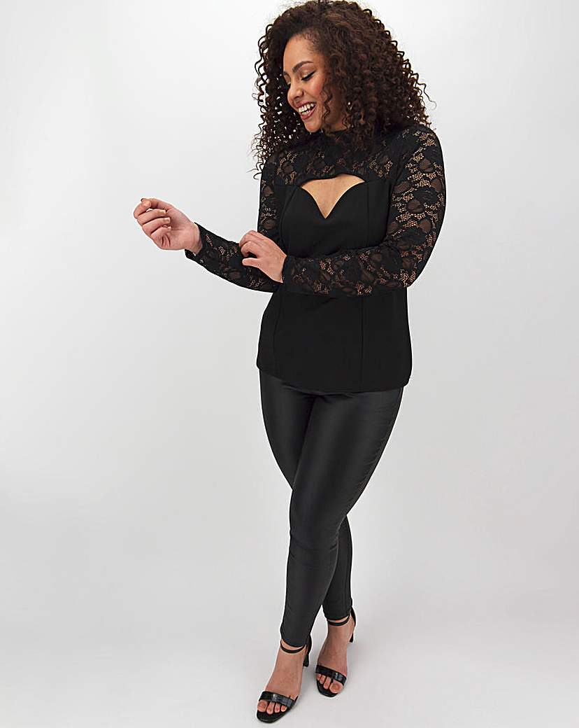 Simply Be Cut Out Lace Long Sleeve Top