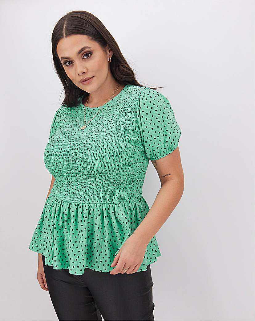Simply Be Peppermint Spot Fleurs Shirred Top