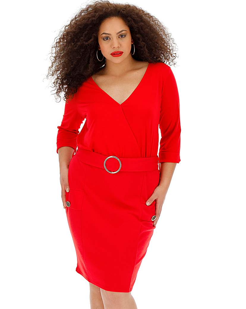 Simply Be Red Wrap Front Belted Dress