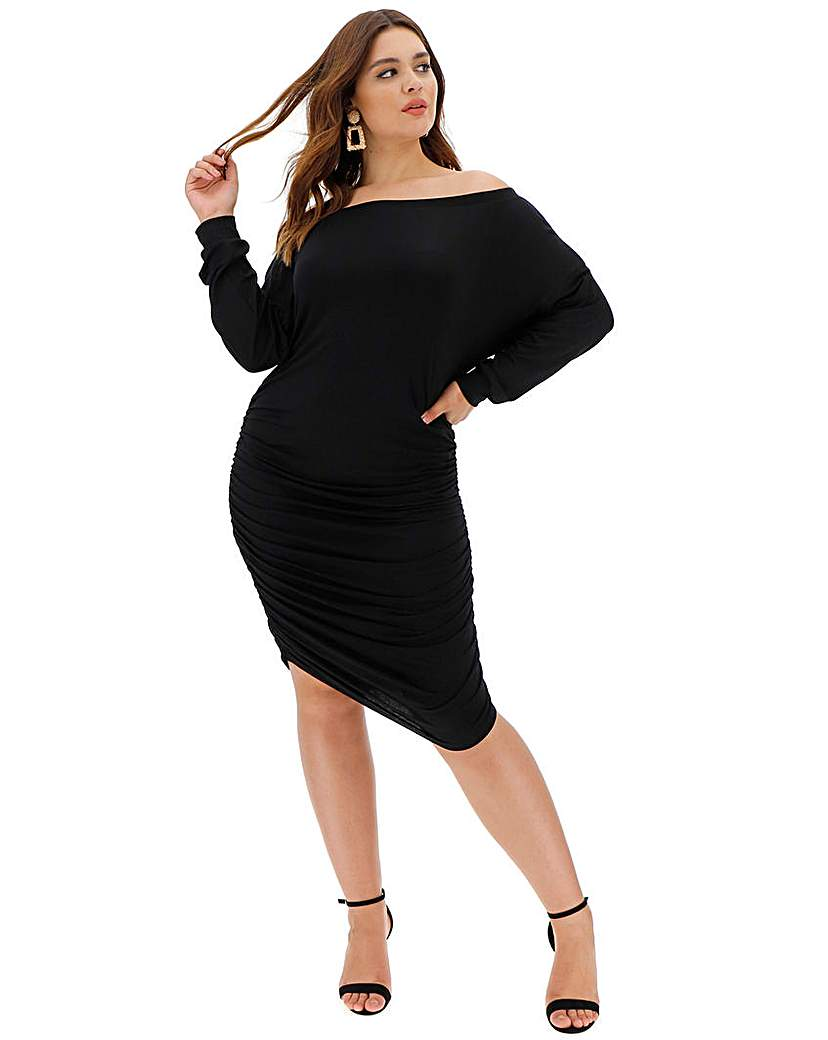 Simply Be Black Ruched Side Dress
