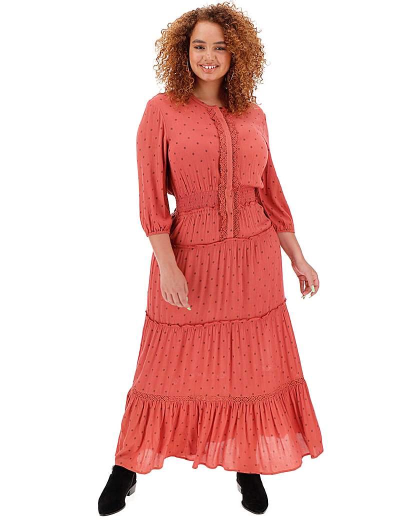 Simply Be Paprika Tiered Boho Maxi Dress