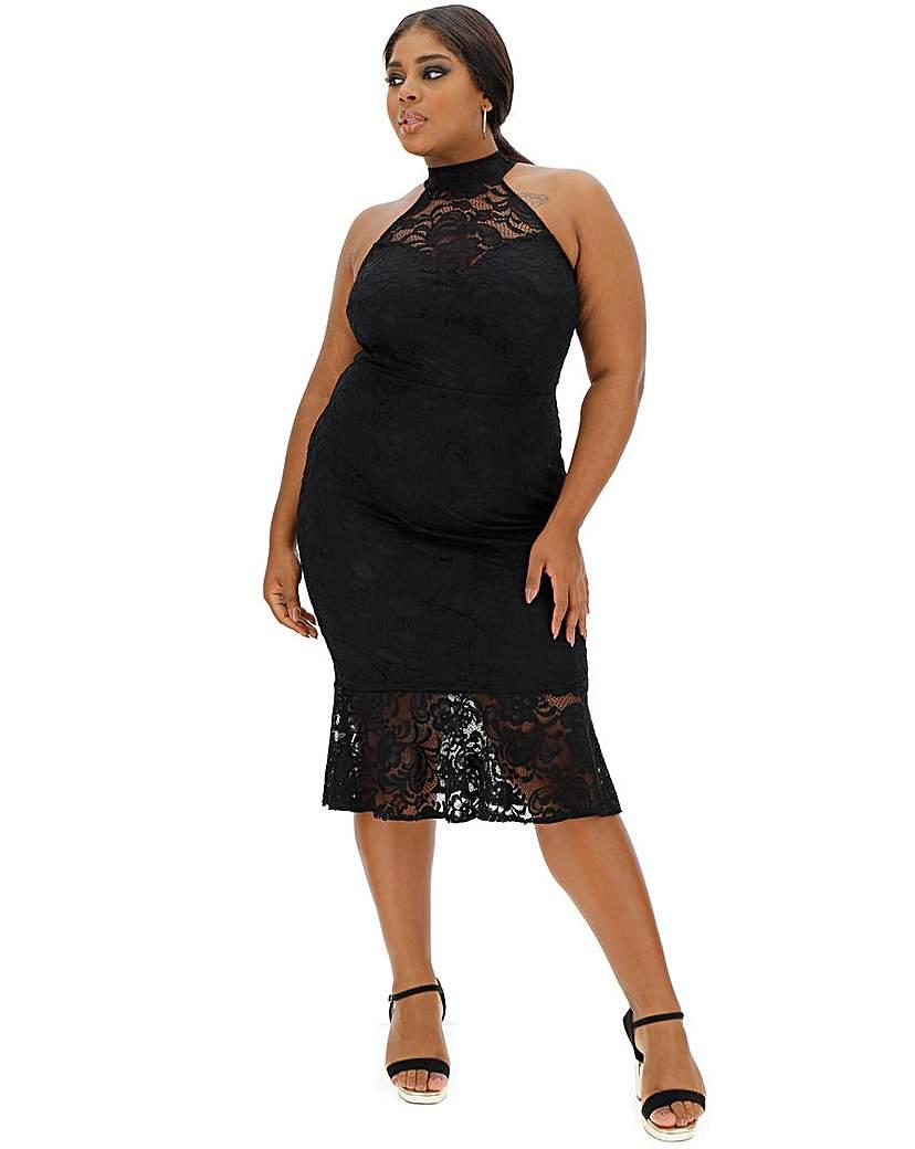 Simply Be Black Peplum Lace Dress