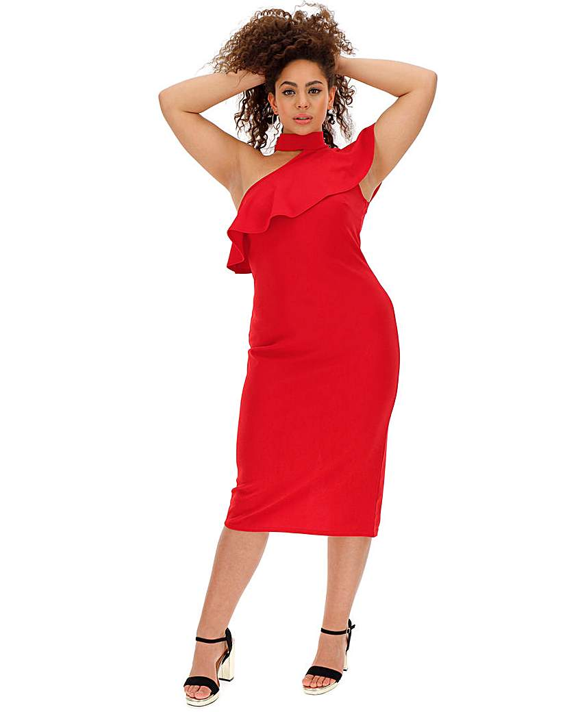 Simply Be Red Ruffle Shoulder Bodycon Dress