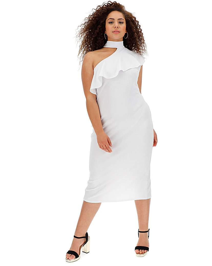 Simply Be White Ruffle Shoulder Bodycon Dress