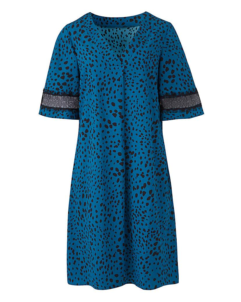 Animal Spot V Neck Shift Lace Dress