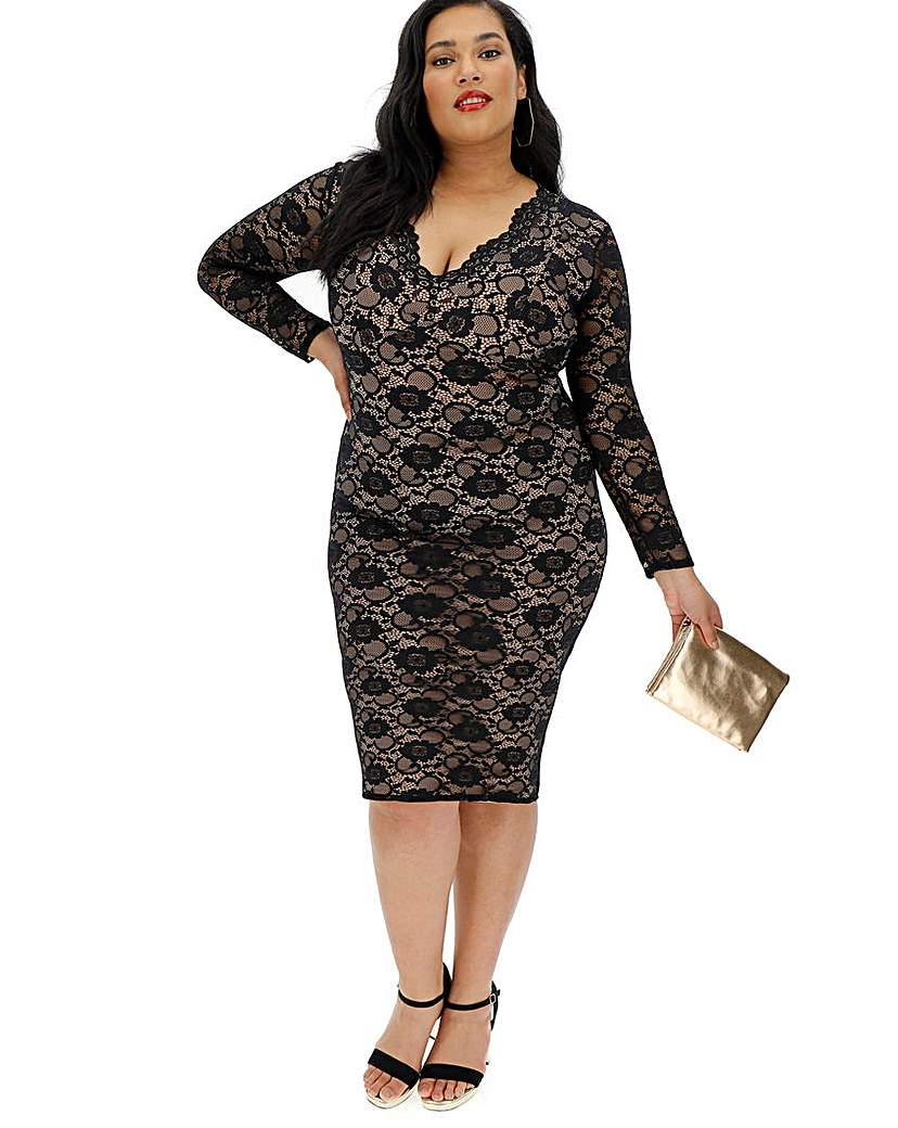 Simply Be Lace Long Sleeve V Neck Dress