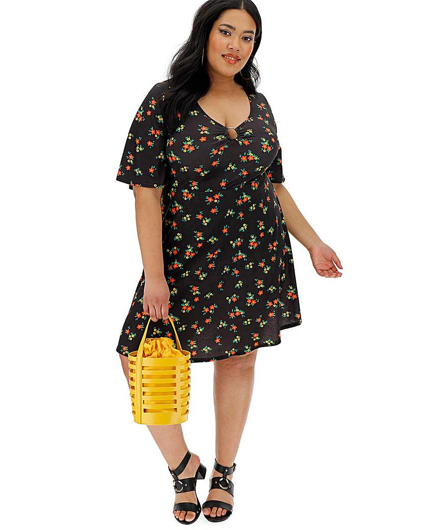 Simply Be Black Ditsy Floral O-Ring Tea Dress