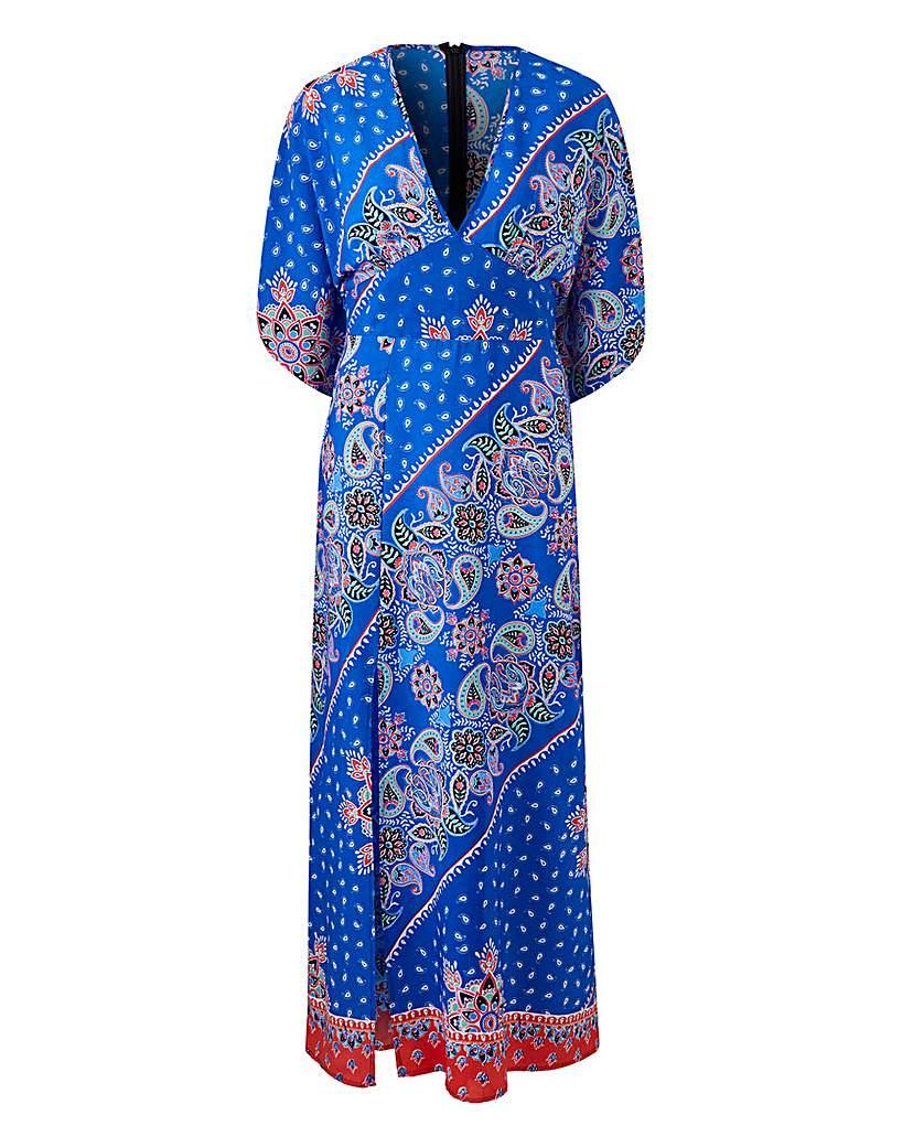 Simply Be Cobalt Paisley V Neck Maxi Dress