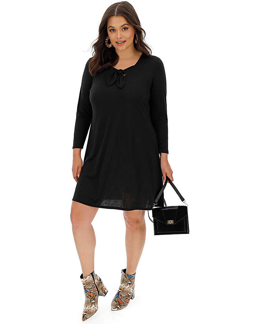 Simply Be Black Knot Front Jersey Swing Dress