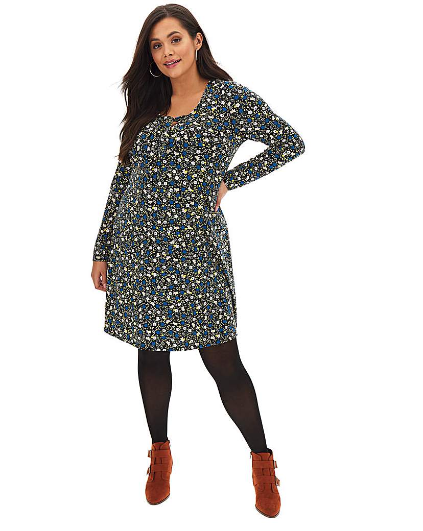 Simply Be Floral Knot Front Jersey Swing Dress