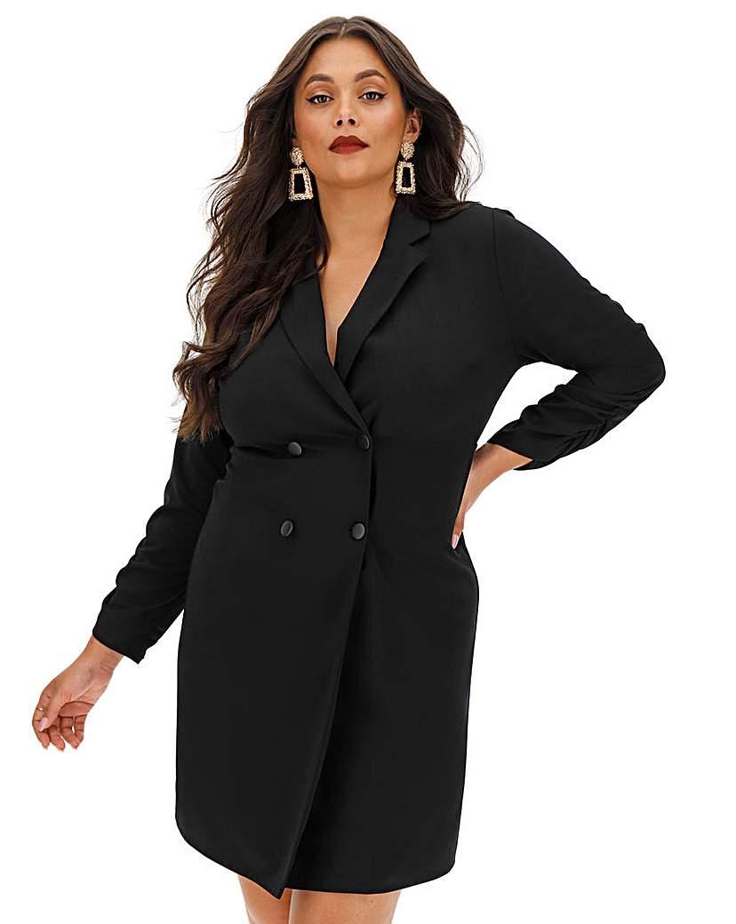Simply Be Black Tuxedo Dress