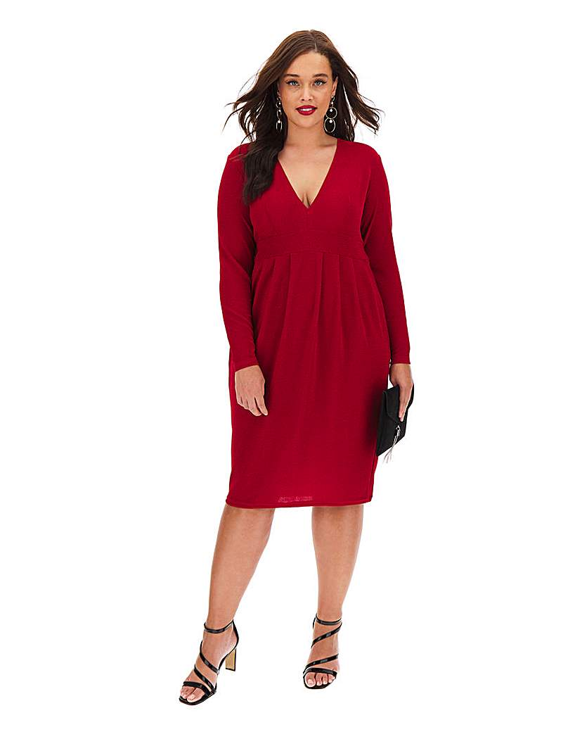 Simply Be Red Plunge Neck Glitter Midi